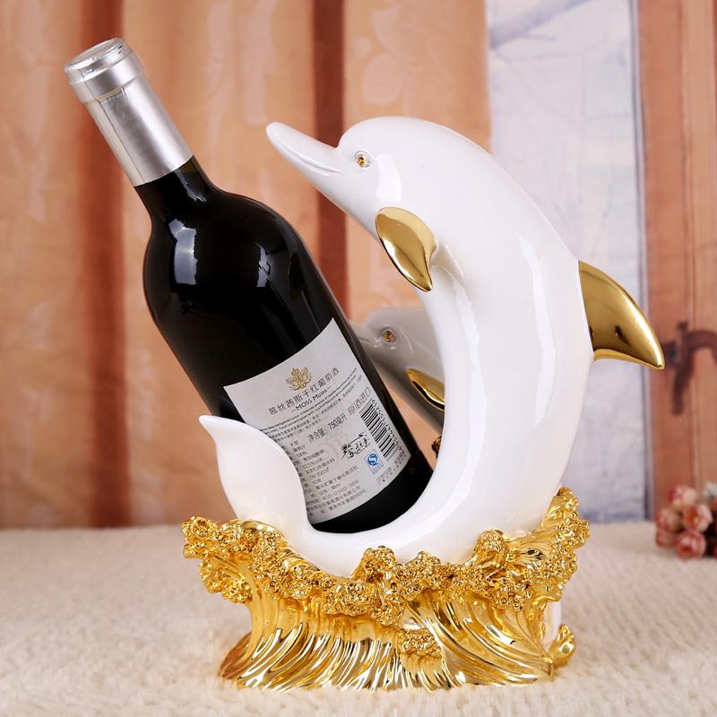 Wine Bottle Holderdolphin Statuesresin Indoor Decorative