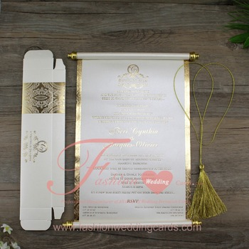 Customized Chinese Luxury Paper Scroll Wedding Invitations Cards On - scroll wedding invite
