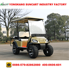 4 seater champagne color electric off road golf cart with rear flip seater,hunting golf car