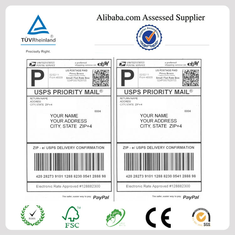 China Supplier Blank A4 International Shipping Labels For Ebay Usps
