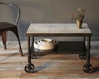 Rustic Industrial Small Cart Side Coffee Table