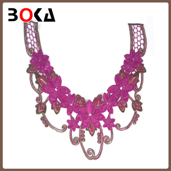 New Neck Embroidery Designs Purple Floral Collars Applique Neck