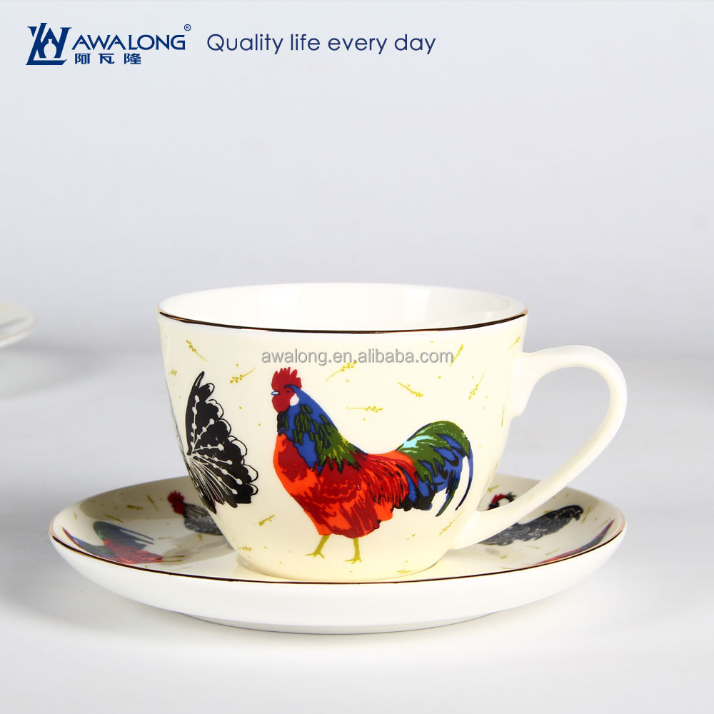 Animal Coffee Cups 250ml Animal Painting Unique Design Fine Bone China Ceramic Cock Coffee Cup And Saucer Set Personalized Kids Ceramic Cups Buy Ceramic Cock Coffee