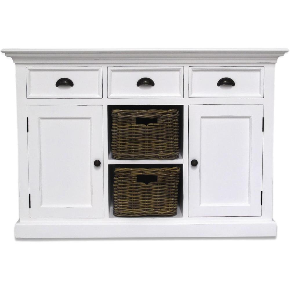 Sideboard Shabby Chic Antique Shabby Chic White Painted Sideboards And Buffets With 3 Drawers And 2 Baskets Buy Sideboard Shabby Chic Antique Sideboard With