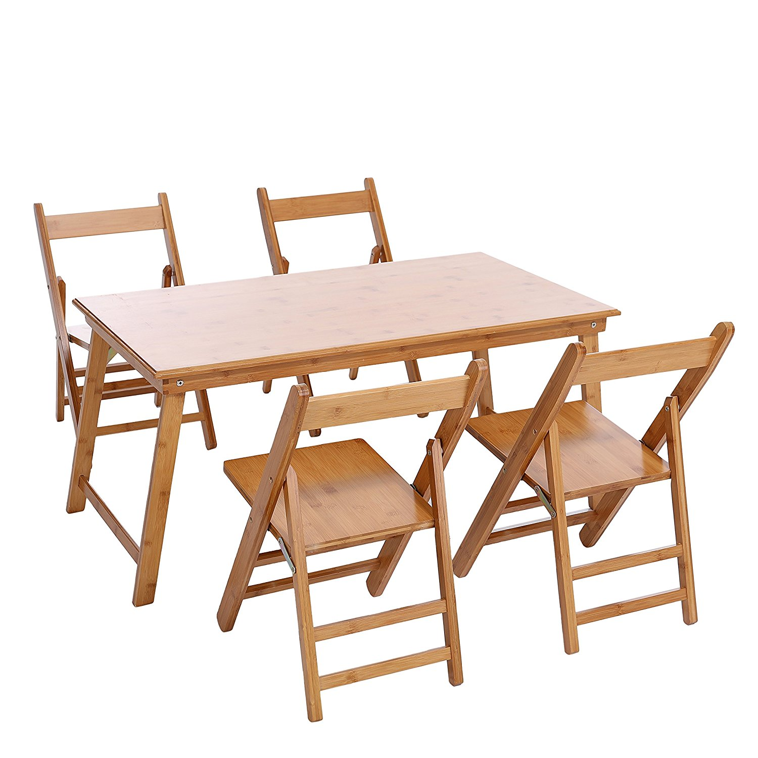 Children's Trestle Table Buy Unicoo Bamboo Rectangular Folding Table With 4 Folding Chairs