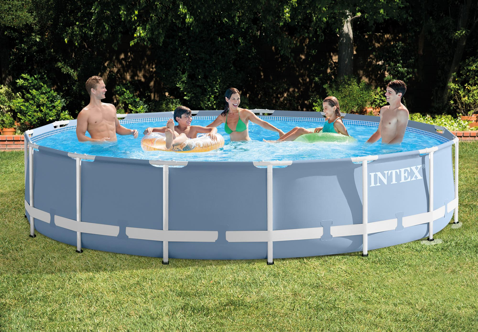 Action Zwembad Intex Intex 26736 Round Ultra Metal Frame Outdoor Above Ground Swimming