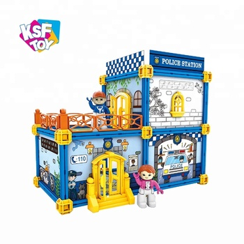 kids police office educational building blocks toy for sale, View