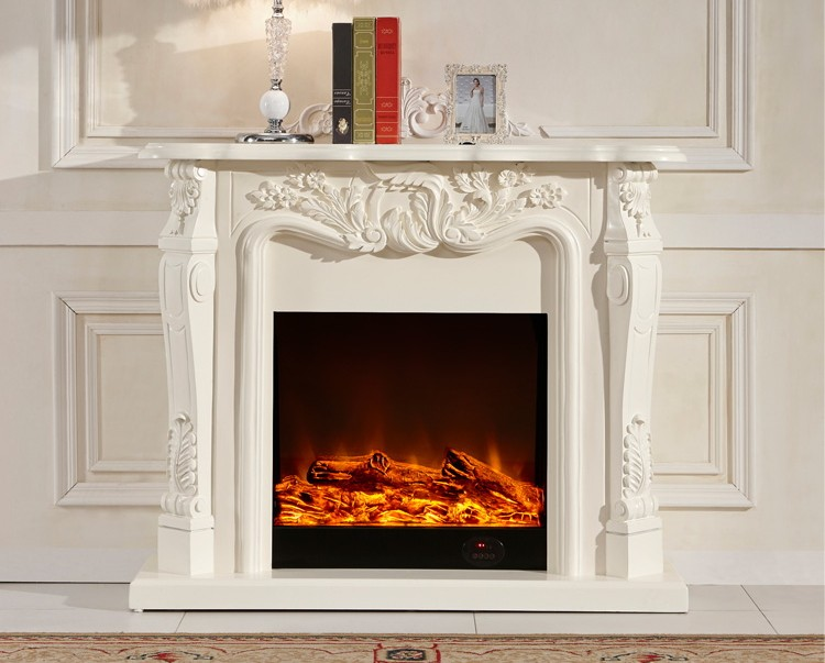 Ivory White Antique Decor Flame Electric Fireplace And