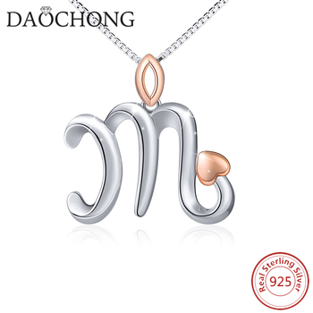 Hot Sale Letter M With Rose Gold Heart 925 Silver Pendant Necklace