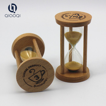 Custom Logo Carving Wood Promotional Small Tea Timer 3 Minute