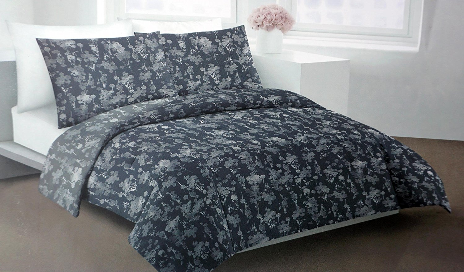 Buy Duvet Cover Dkny Bedding 3 Piece King Duvet Cover Set Floral Pattern In Shades Of Light And Dark Gray Silhouette Floral
