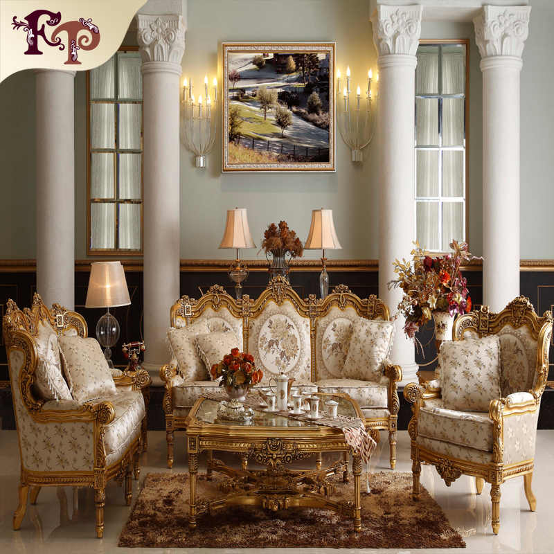 Sala Set Second Hand Luxury Rococo Design Furniture Hand Carving Classic Living
