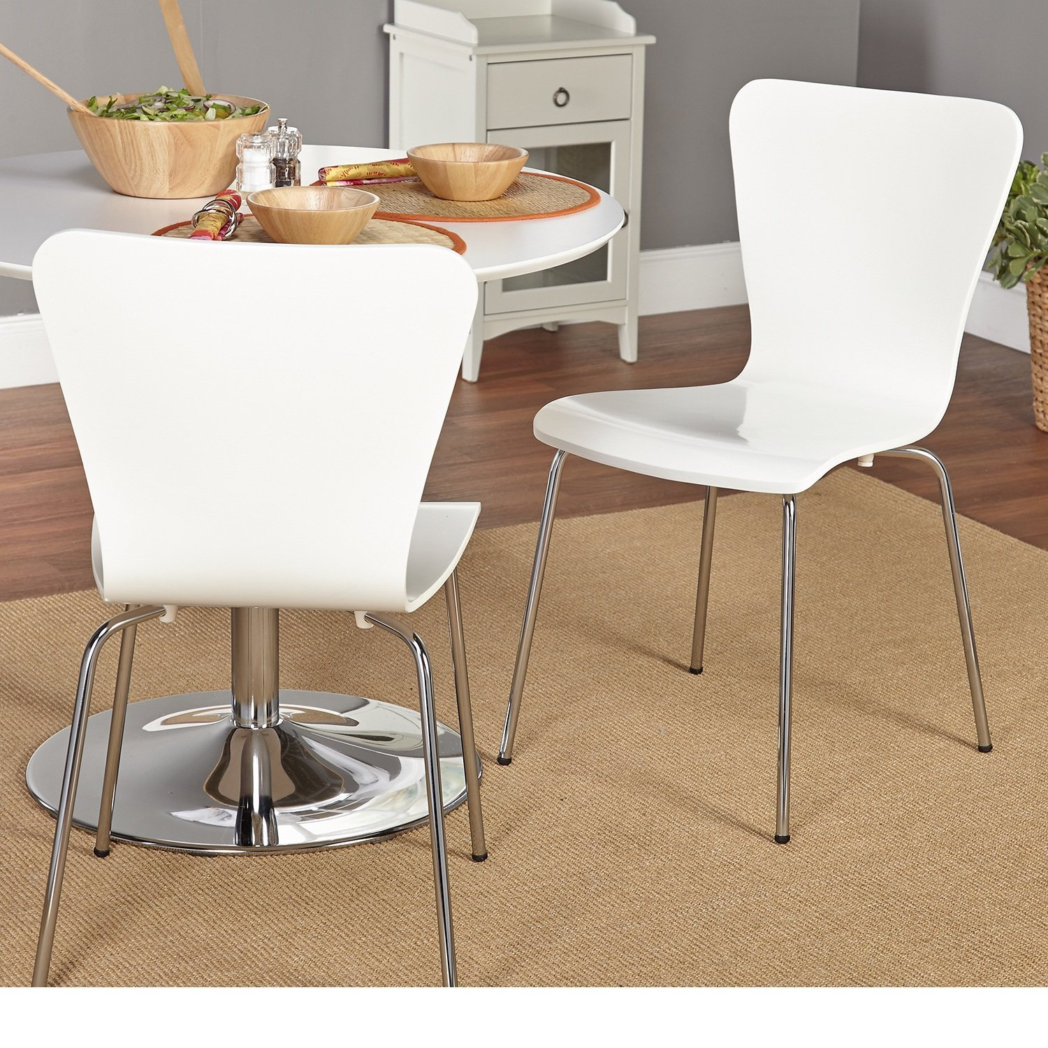 Buy 2 Piece White Dining Chairs Solid Pattern Wood Material Contemporary Modern Stackable Chair Retro Hour Glass Shape Curves Sturdy Chrome Plated Tube Metal Legs Fashionable Space In Cheap Price On Alibaba Com