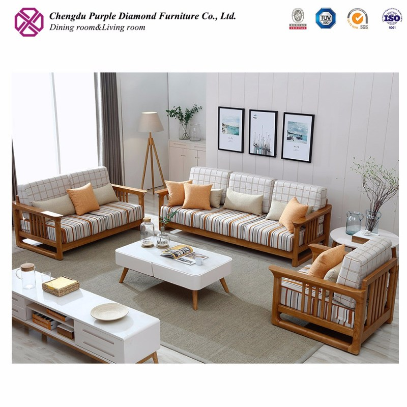 China Corner Wooden Sofa Set Designs