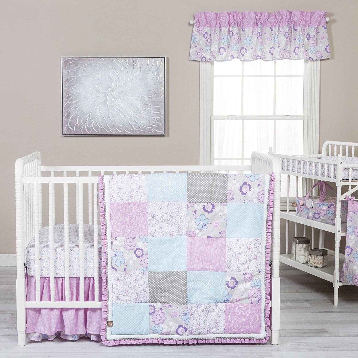 Patchwork Set Baby Buy On 5 Piece Baby Girls Purple Blue Pink Flowers Crib