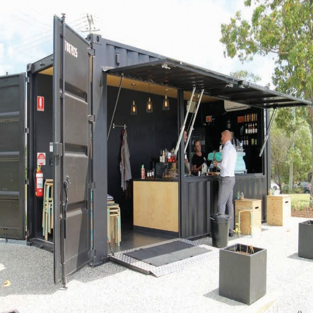 Desain Cafe Container Easy Assembling Structure Luxury Prefab Shop Kiosk Kit Hydraulic Opening Door 20 Ft Container Coffee Bar