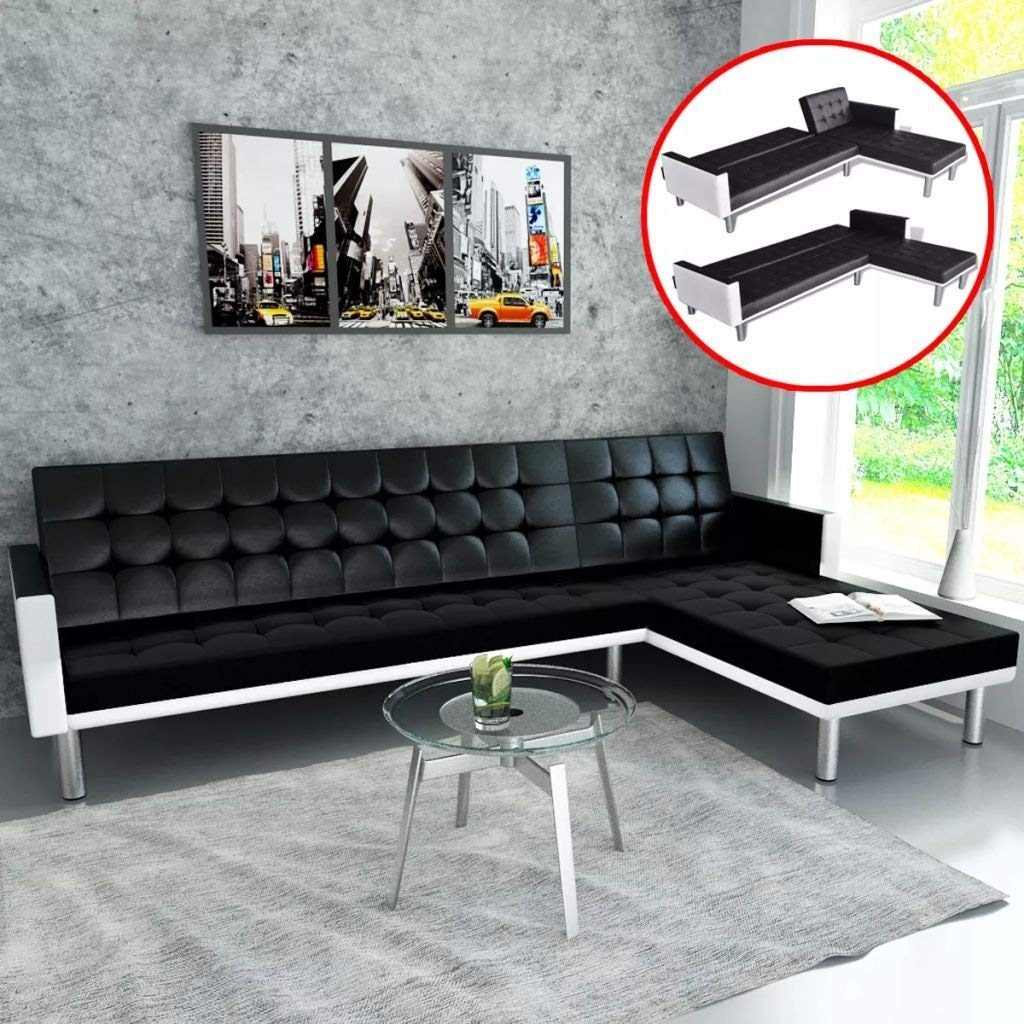 L Shape Sofa Set Designs+price L Shaped Sofa Bed Artificial Leather Sofa Black And White Sofa Set Can Be Easily Converted To A Bed