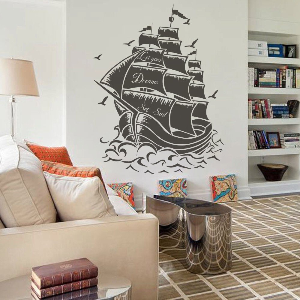 Décoration Murale Vinyle Buy Vinyl Pirate Ship Wall Decal Sail Boat Wall Sticker Nautical
