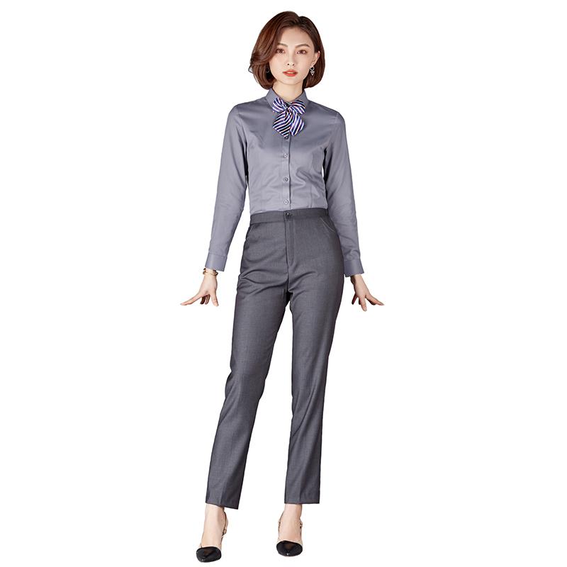 Black Women Work Pant Suits Ol Shirt With Pant Office Ladies Uniform