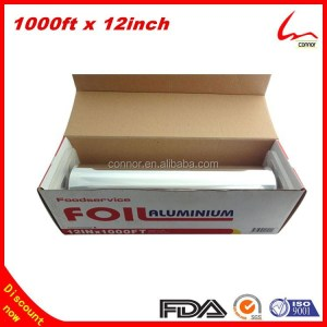 1000ft x 12inch Extra Length Disposable Top Grade Food Wrapping Plastic Aluminum Foil Packaging Roll