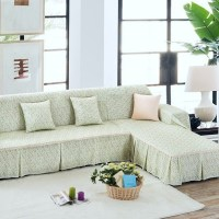 Unikea Pastoral Green Floral Sectional Sofa Cover For L ...
