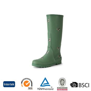 2016 Fashion Durable Green Knee High Rubber Rain Boots For