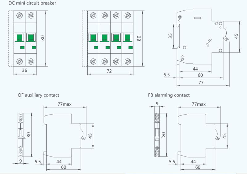circuit breaker with integrated on wiring miniature circuit breaker