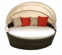 Rattan Round Shaped Outdoor Lounge Bed With Canopy,Round ...