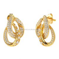 Saudi Gold Jewelry 18k Solid Gold Earring Unique Design