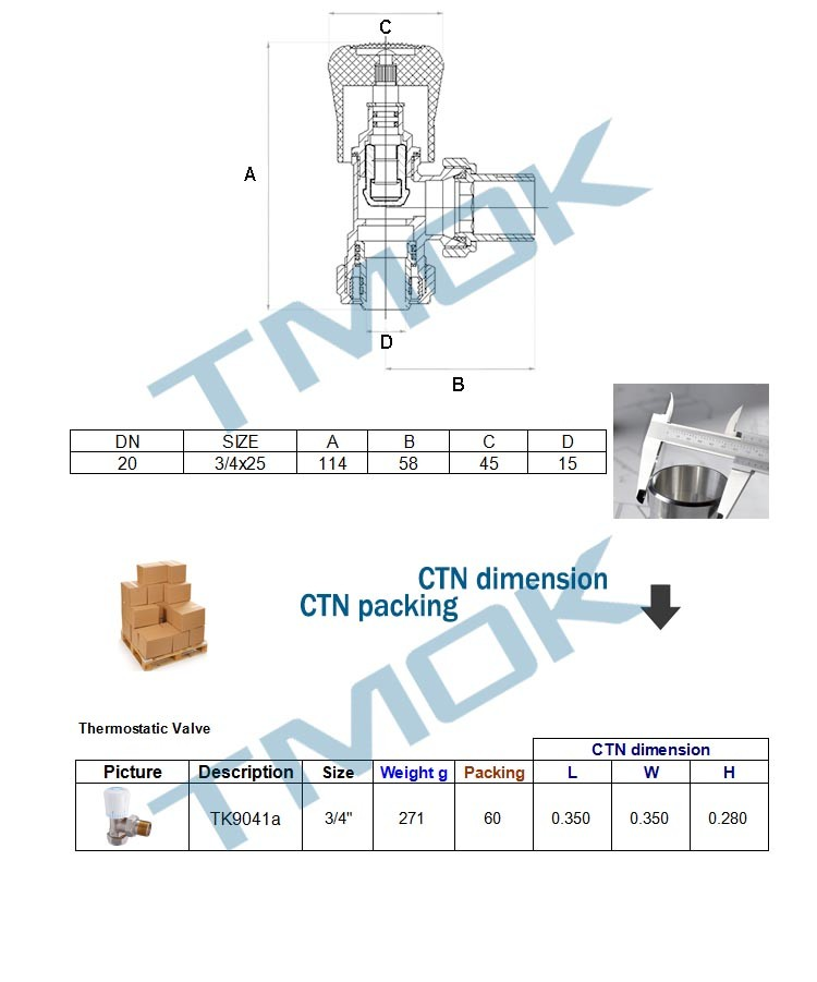 Two Way Mixing Valve Plastic Handle Thermostatic Radiator Pipe