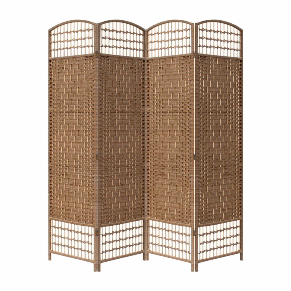 Paravent Rattan Chinese Paper Wooden Folding Screens Room Divider With Wheels