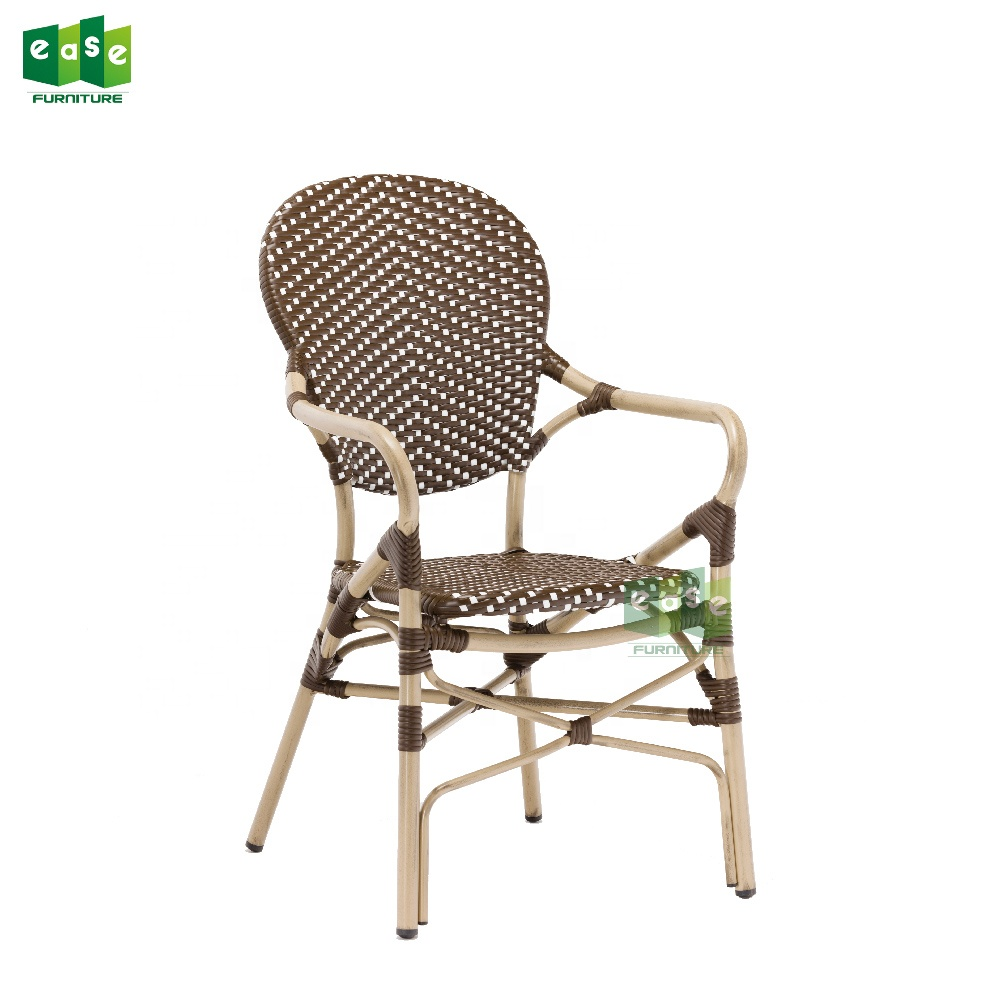 French Aluminum Rattan Bistro Look Cafe Chair Armchair E3011 - Sedia Bistrot Polyrattan