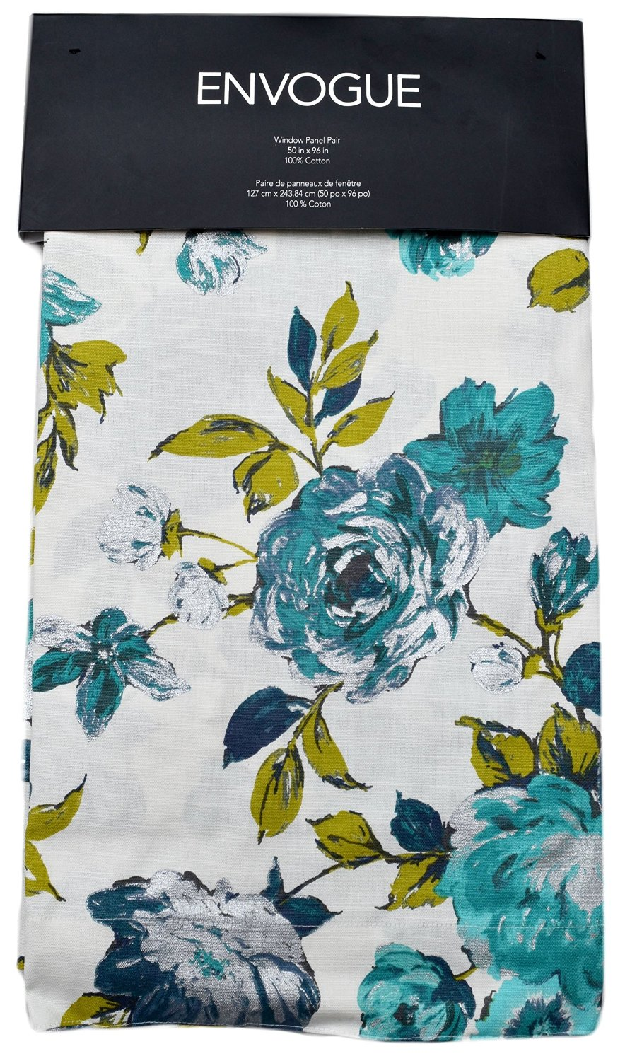 Teal Silver Curtains Buy Envogue Jaclyn Garden Flowers Pair Of Curtains 2 Window Panels