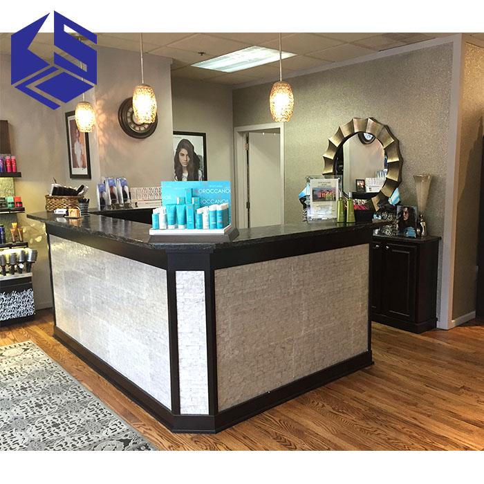 Luxury Salon Furniture Wooden Salon Front Desk Beauty Salon Counter