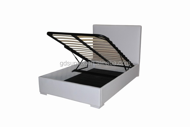 Modern White Pu Leather Double Bed Hydraulic Lift Up