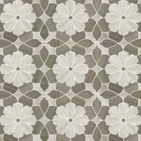 Flower Design White Oak Wooden Gray Marble Waterjet Mosaic ...