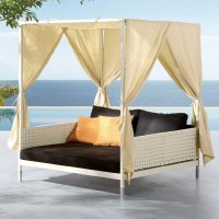 Beach Canopy Bed & Tent Inside With Sea View. Sea