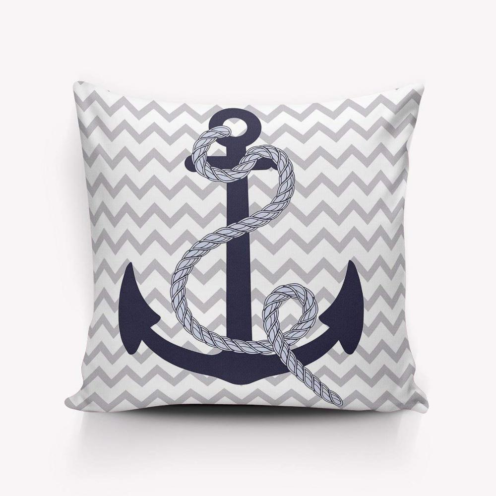 Nautical Sofa Throws Nautical Navy Blue Anchor Grey And White Chevron Zig Zag Ripple Indoor Throw Pillow For Sofa Buy Soft Pillow Sofa Pillow Indoor Pillow Product On