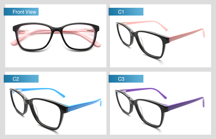 Wholesale Lady Double Color Square Acetate Glasses Frame