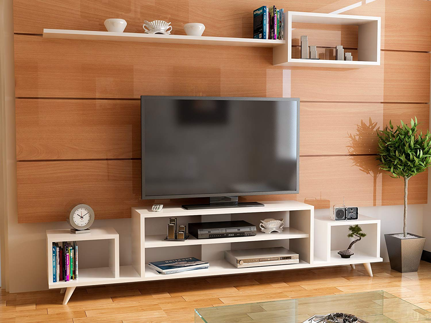 Tv Unit Cheap Lamodahome Tv Stand Unit White Coloured Tv Unit Stylish Design Simple Parted Stand Storage Multi Function Organize House Decor Desk Unit Furniture For