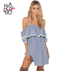 HAODUOYI Stripe Women Summer Short Sleeve Cold Shoulder Chiffon Sweet Loose Casual Mini Dress