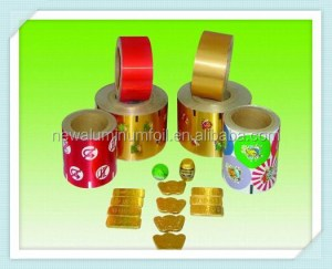 colored and printed aluminum foil laminated paper for chocolate wax packing foil