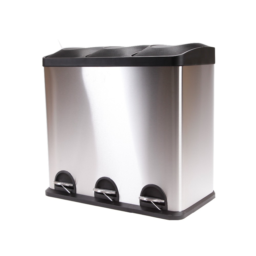 Stainless Steel Recycling Bins Plastic Square Stainless Steel Trash Bucket Indoor 3 Compartments Recycling Bin With Pedal Buy 3 Compartments Recycling Bin 3 Compartments Recycling