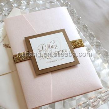 Peach Glitter Pocket Fold Wedding Invitations Cards With Lining