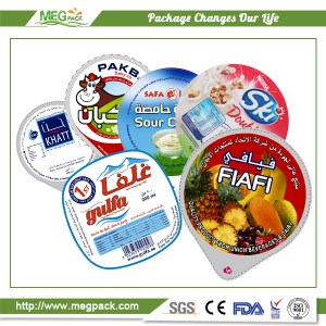 Aluminum foil sealing lids for yogurt cups coated with PP film