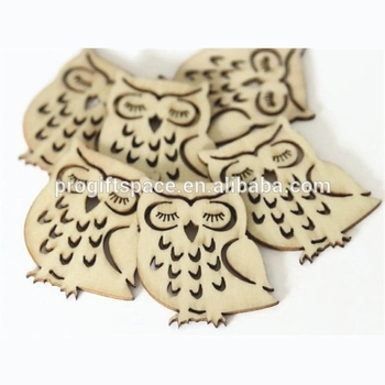 Hot Sell 6 Wood Owl Shapes 35mm X 40mm Natural Wooden Ornament Made