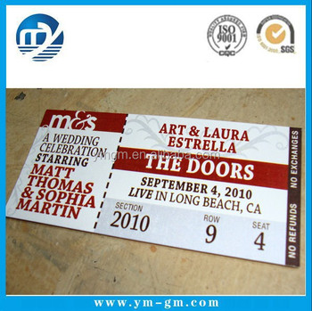 Ticket Printing Paper Tickets Custom Printed Concert Tickets - Buy