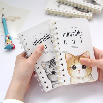 Cute Cat Printing Paper Cover Pocket Spiral Notebook,Lined Notebook