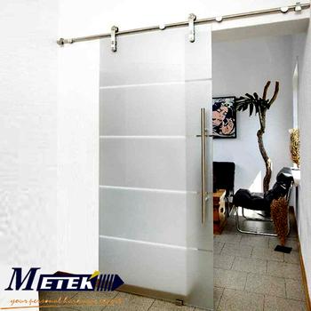 Luxury European Interior Glass Sliding Barn Doors Stainless Steel