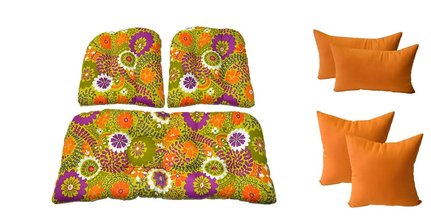 Retro Cushions Buy Wicker Cushions And Pillows 7 Pc Set Citron Green Orange